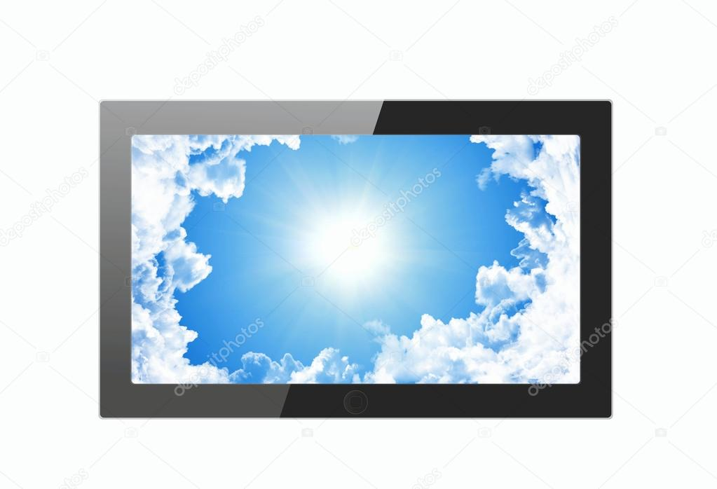 tablet pc with sky on display
