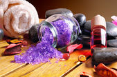 Black stones and essences for body care Close up