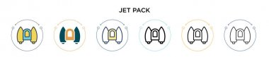 Jet pack icon in filled, thin line, outline and stroke style. Vector illustration of two colored and black jet pack vector icons designs can be used for mobile, ui, web icon
