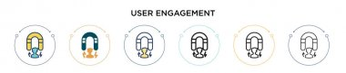User engagement icon in filled, thin line, outline and stroke style. Vector illustration of two colored and black user engagement vector icons designs can be used for mobile, ui, web