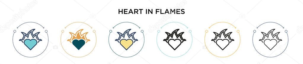 Heart in flames icon in filled  thin line  outline and stroke style icon