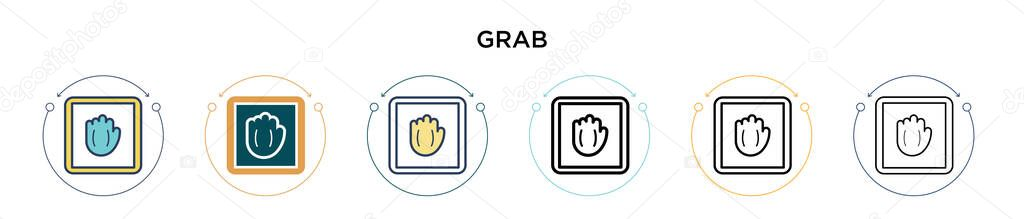 Grab icon in filled  thin line  outline and stroke style icon