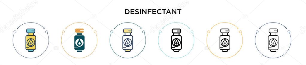 Desinfectant icon in filled  thin line  outline and stroke style icon