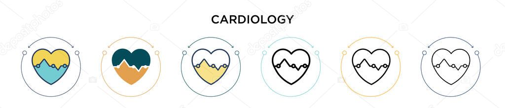 Cardiology icon in filled  thin line  outline and stroke style icon