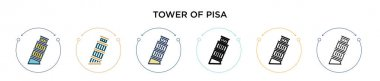 Tower of pisa icon in filled, thin line, outline and stroke style. Vector illustration of two colored and black tower of pisa vector icons designs can be used for mobile, ui, web