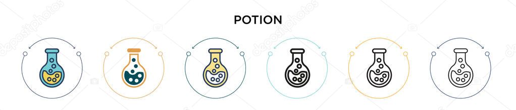 Potion icon in filled  thin line  outline and stroke style icon