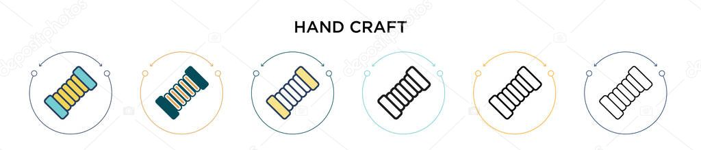 Hand craft icon in filled  thin line  outline and stroke style icon