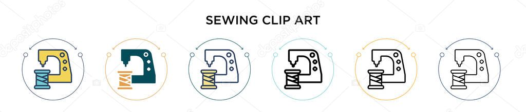 Sewing clip art icon in filled  thin line  outline and stroke style icon