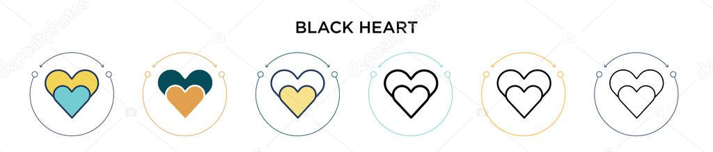 Black heart icon in filled  thin line  outline and stroke style icon
