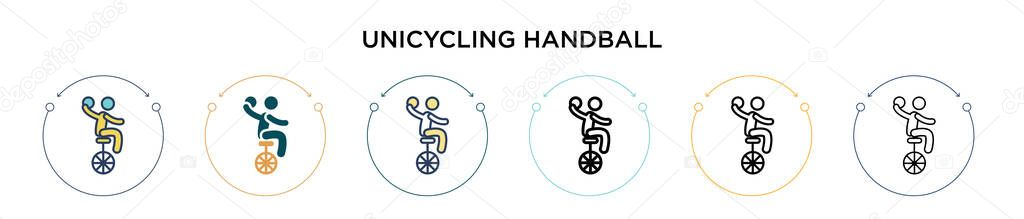 Unicycling handball icon in filled  thin line  outline and stroke style icon