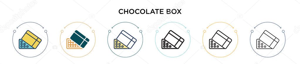 Chocolate box icon in filled  thin line  outline and stroke style icon