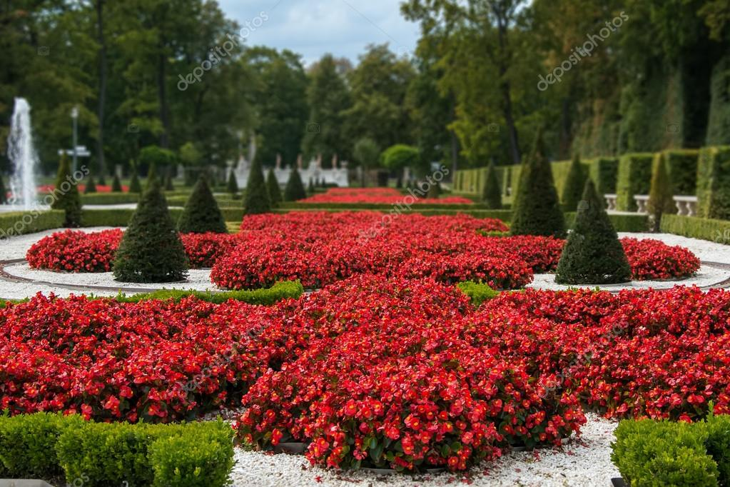 Flower garden in the palace of Wilanow