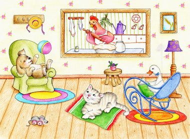 Funny animals inside house