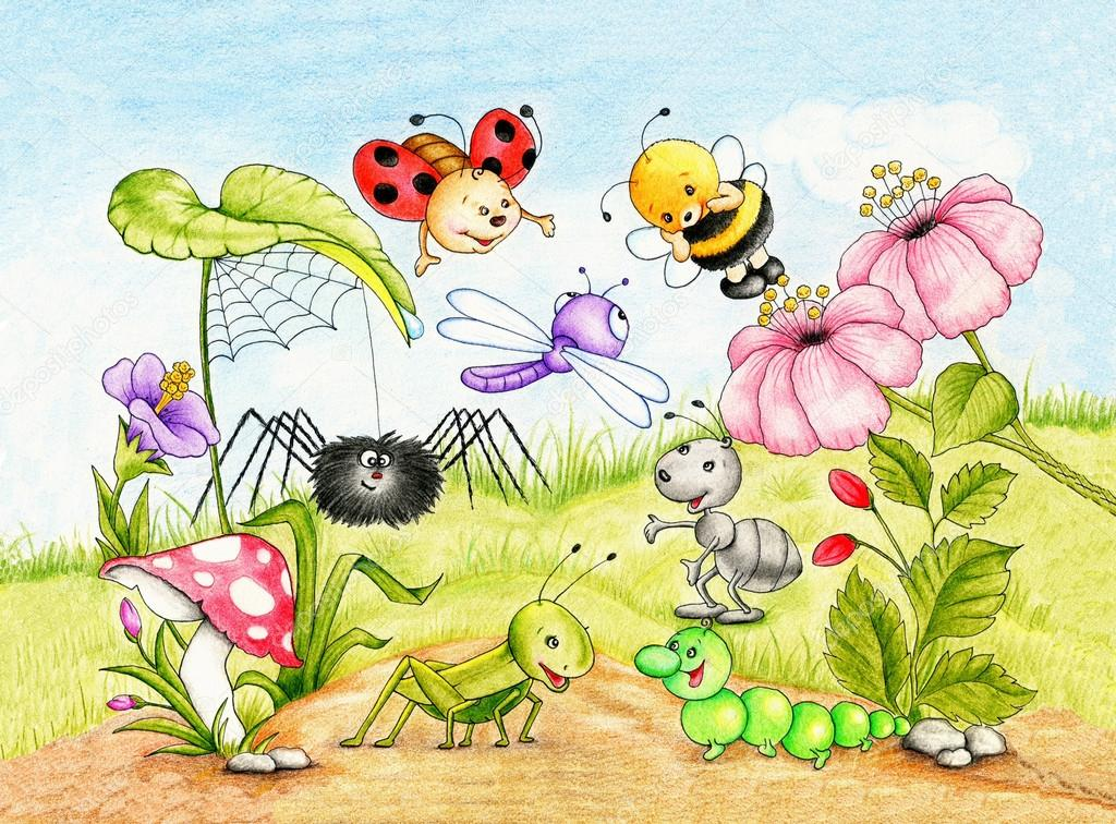 funny garden with animals and plants stock photo