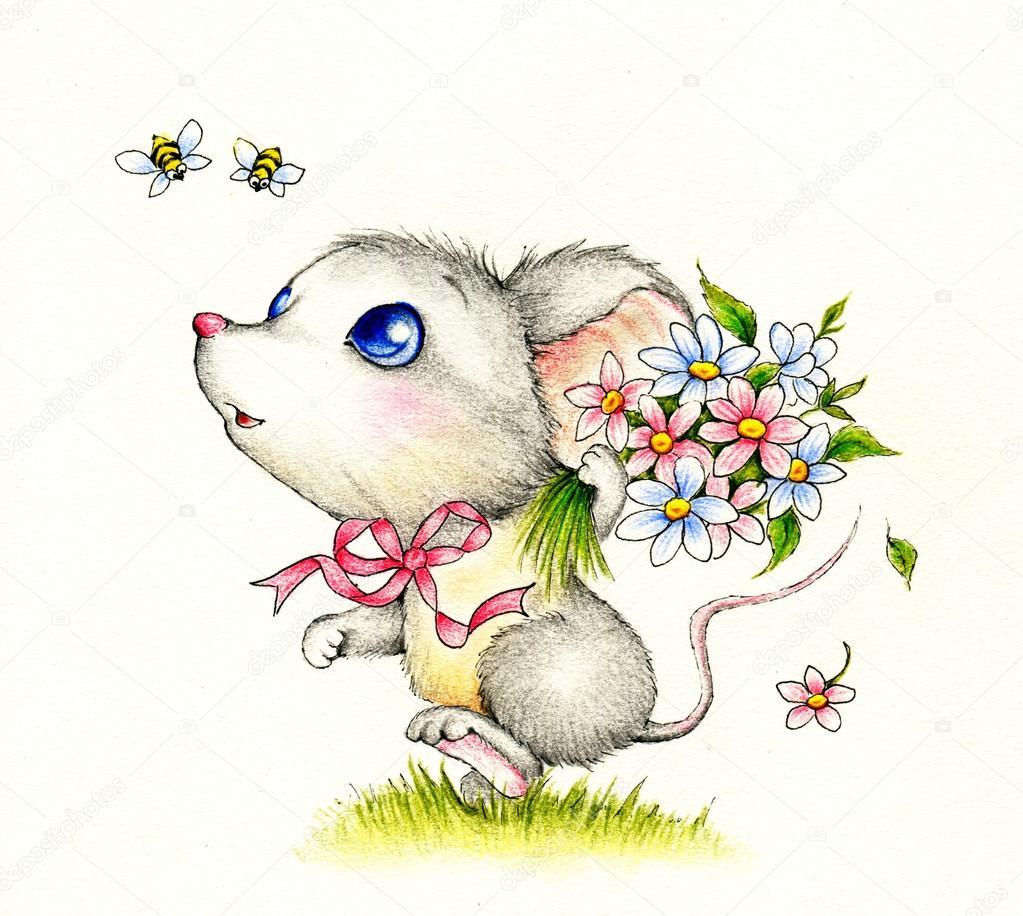 Süße Maus mit Blumen — Stockfoto © Tchumak #53676421