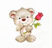 Süße Teddybär mit Rose