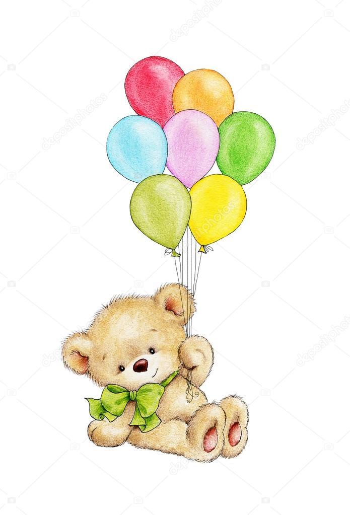 Orsetto con palloncini foto stock tchumak 77423946 - Immagine con palloncini ...