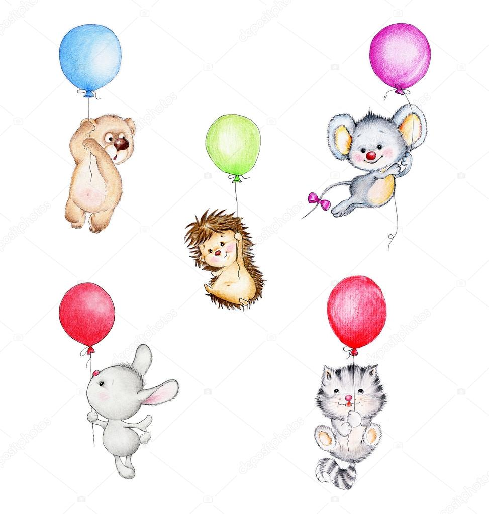 Animals flying on balloons