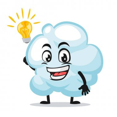 Vector illustration of cloud mascot or character got idea icon