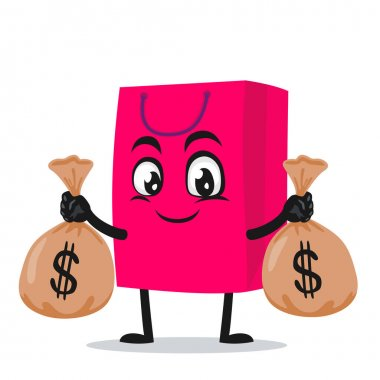 Vector illustration of shopping bag character or mascot holding sacks of money icon