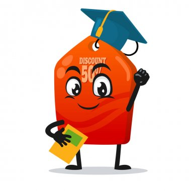 Vector illustration of tag mascot or character graduation hat and holding book icon