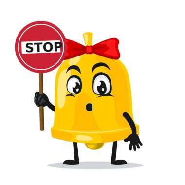 Vector illustration of bell mascot or character holding sign says stop icon