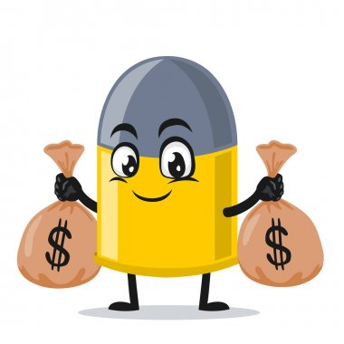 Vector illustration of bullet mascot or character holding sacks of money icon