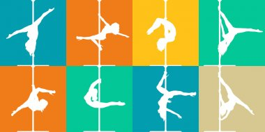 Flat style pole dance and pole fitness icons. Vector silhouettes of female pole dancers.