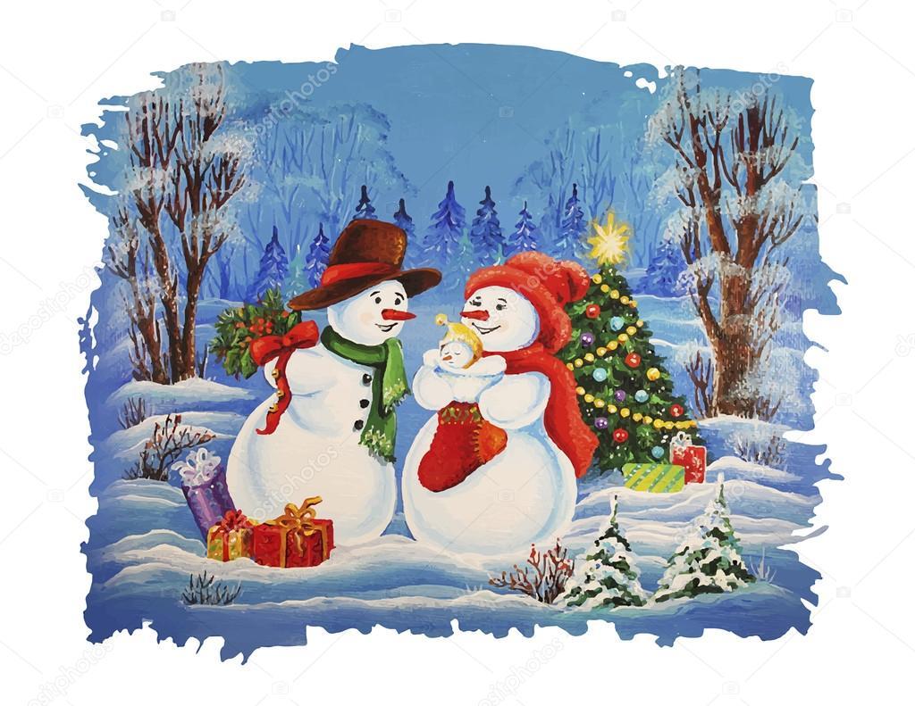 Immagini Di Natale Pupazzi Di Neve.Cartolina Di Natale Famiglia Del Pupazzo Di Neve