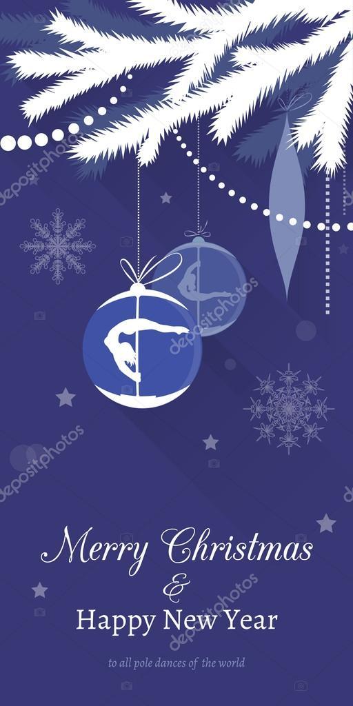 Pole dance Christmas Cards — Stock Vector © veronika_by #59854973