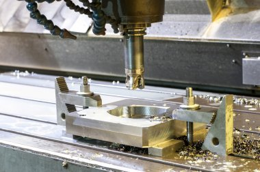 Square industrial metal mold/blank milling. CNC technology.