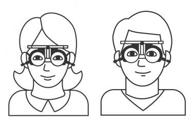 Woman and man vision checkup in ophthalmological clinic. Optometrist checking adult eyesight with spectacles medical equipment. Glasses lens selection. Outline illustration on white background icon