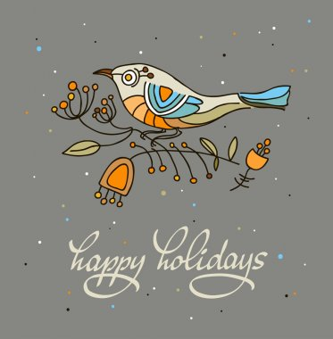 Happy holidays greeting card with stylized bird. Vector illustration.  Dark background clip art vector
