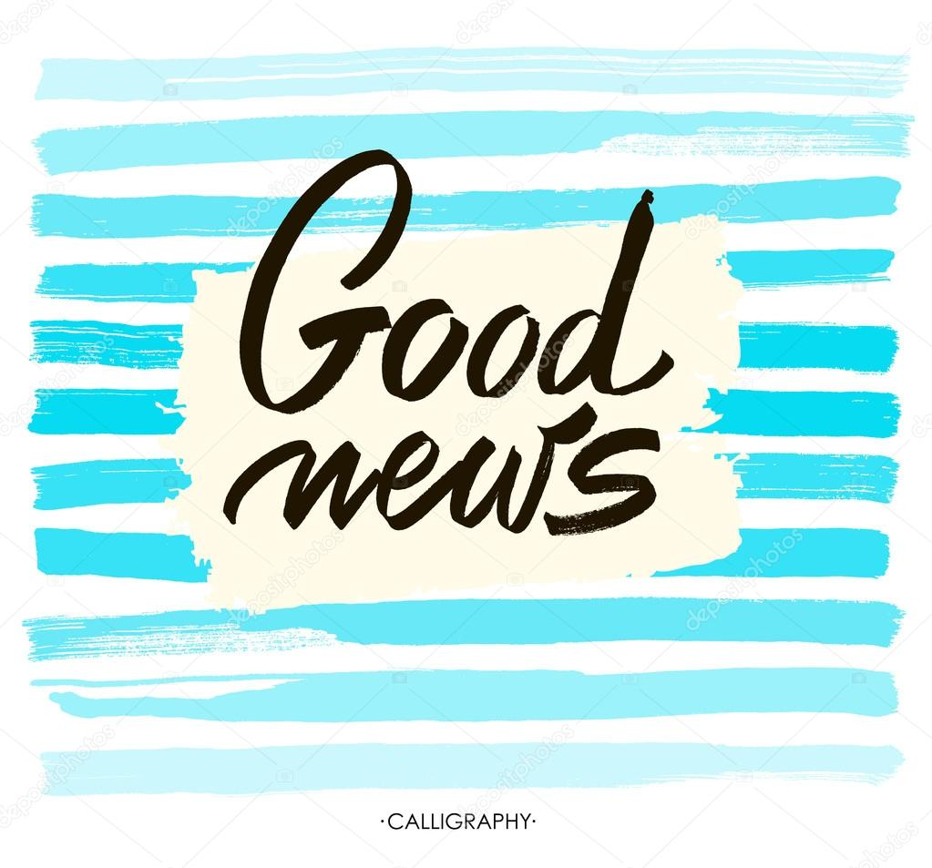 good news vector white ink calligraphy for cards prints and social