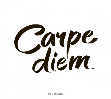 Carpe diem. In latin means Catch the moment. Hand-lettering using a brush inspirational quote  isolated on white background. Vector calligraphy art.