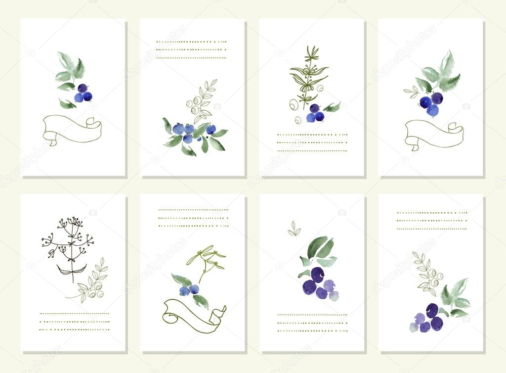 Hand drawn collection of romantic floral invitations. Vector watercolor.   Wedding, marriage, bridal, birthday, Valentines day. Isolated.