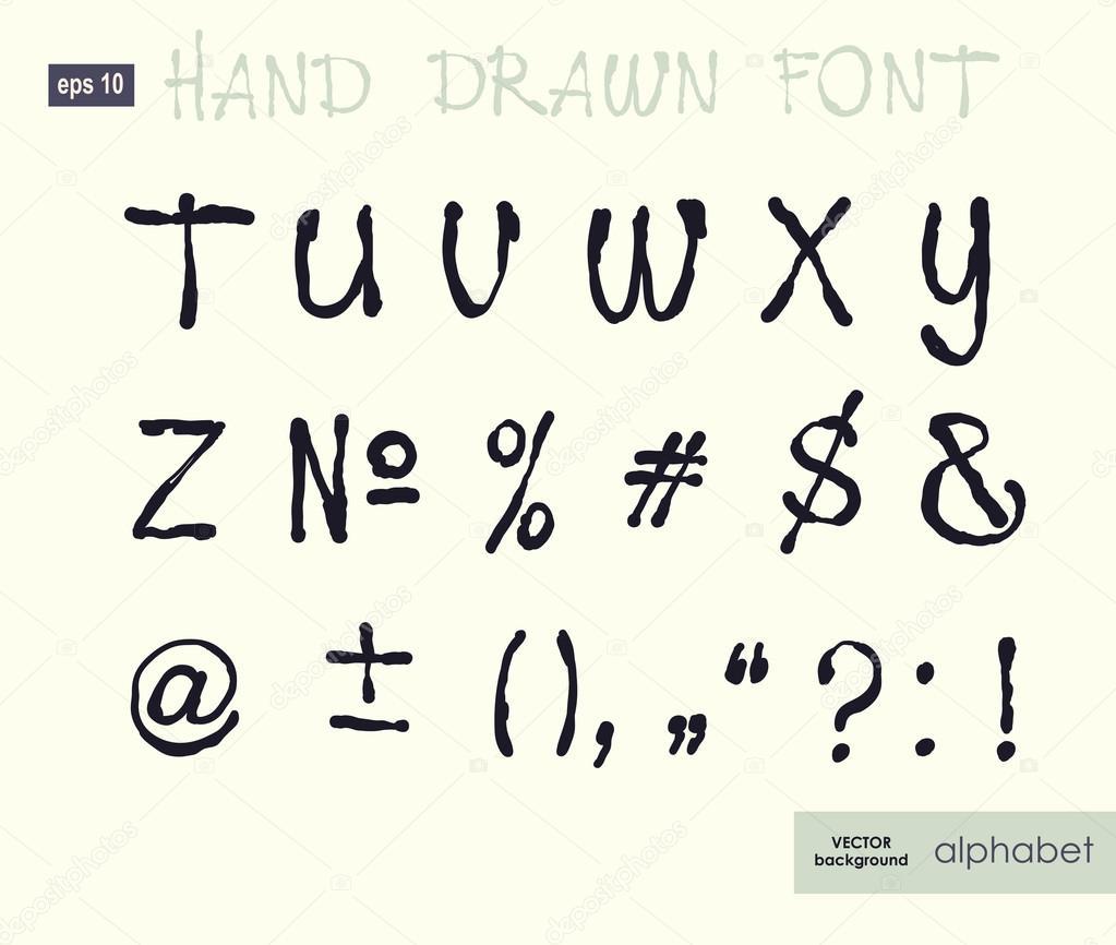 Handwritten Alphabet Letters Vector Abc For Your Design Stock