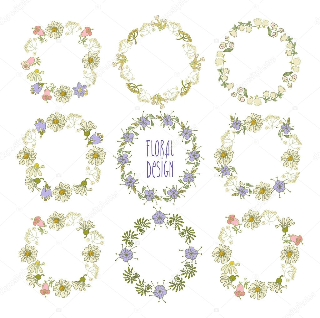 Collection  of wreaths of flowers. Elements for your design.  Vector illustration.