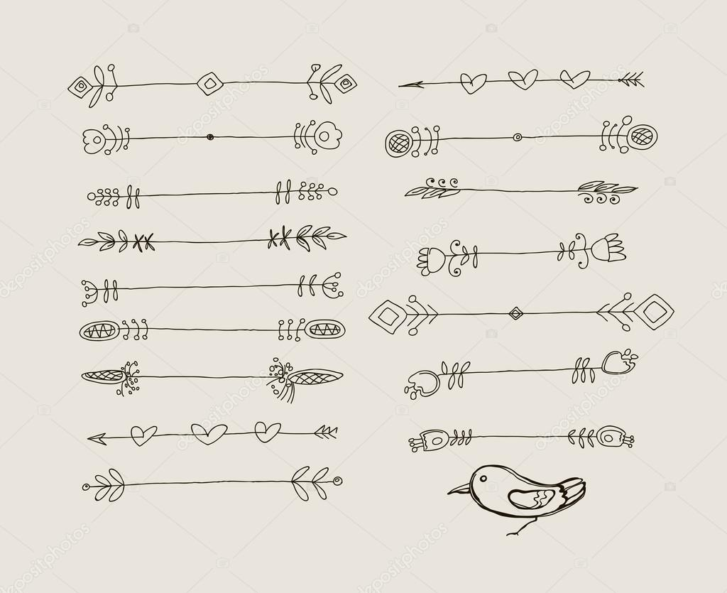 Set of Hand Drawn Black Doodle Design Elements. Vintage Vector Illustration.
