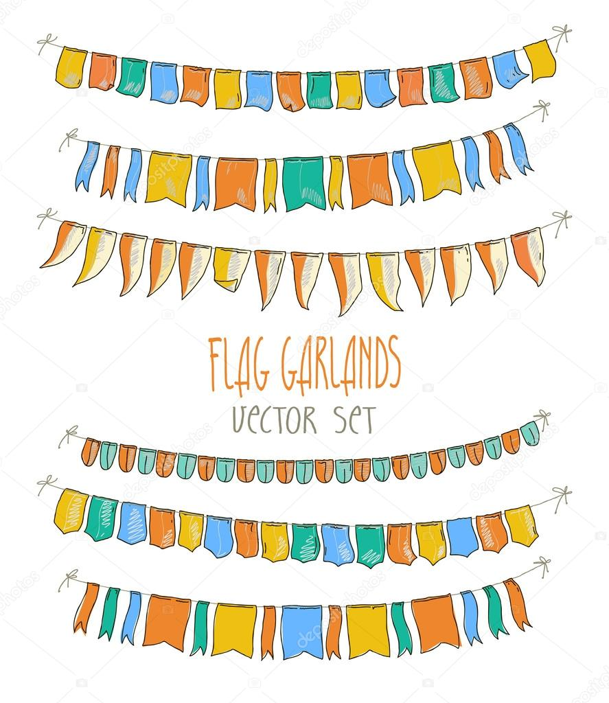 Vector Illustration of colorful flag garlands on white  background. Retro colors buntings and flags. Holiday set.