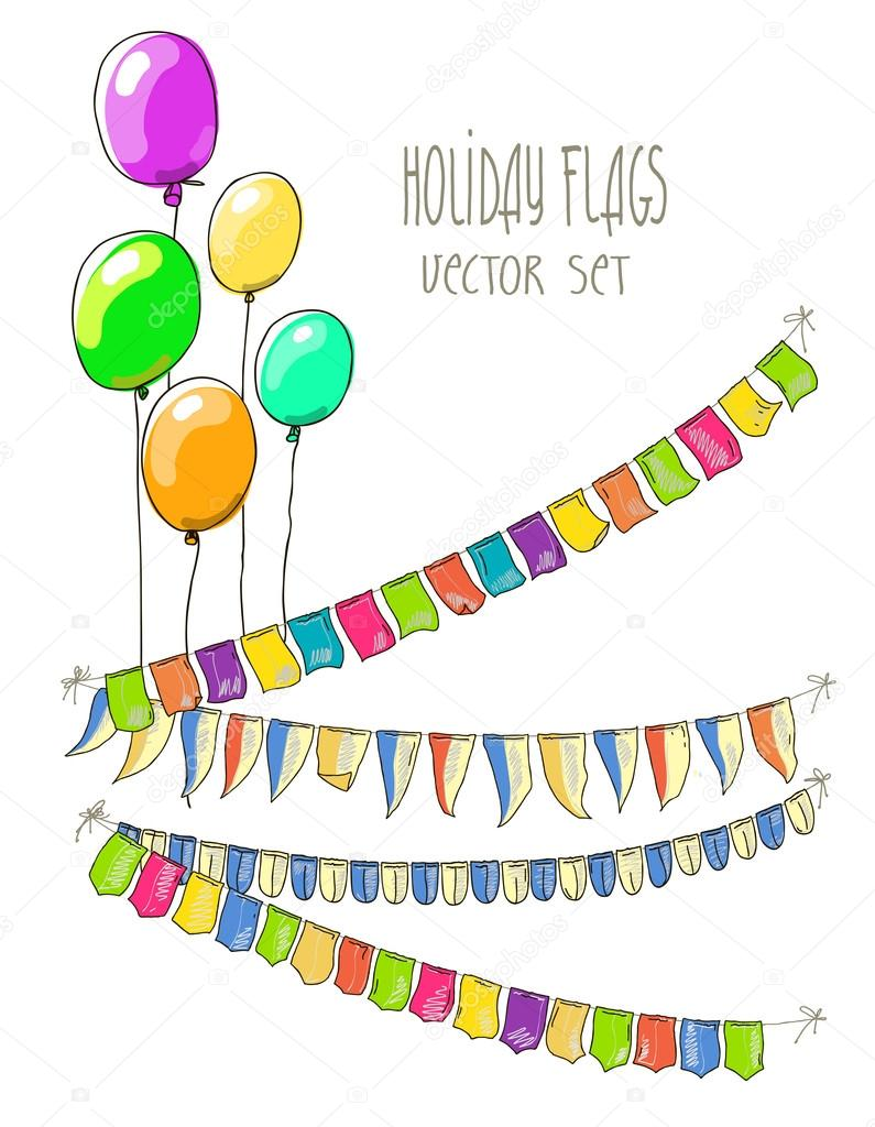 Vector Illustration of colorful flag garlands and air balloons on white  background. Retro colors buntings and flags. Holiday set.