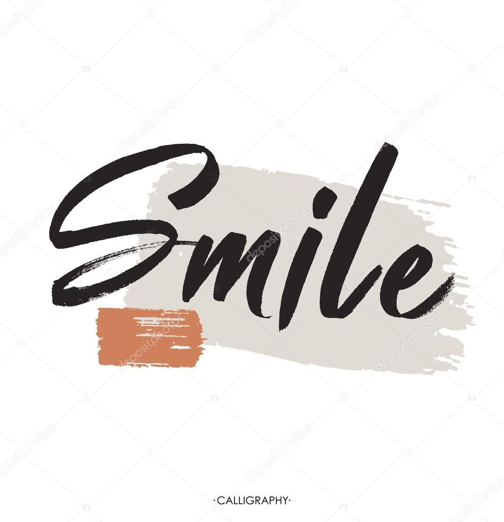 Hand Drawn Stylish Typographic Poster Design With Inscription Smile