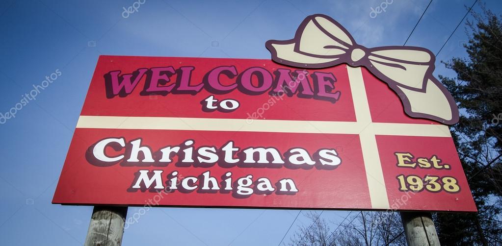 Christmas Michigan.Welcome To Christmas Michigan Stock Editorial Photo