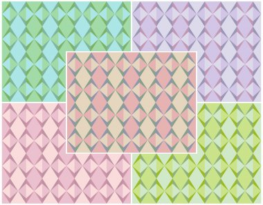 Set of abstract geometric seamless patterns of triangles and rhombus with bands. Different colors. Vector eps 10.