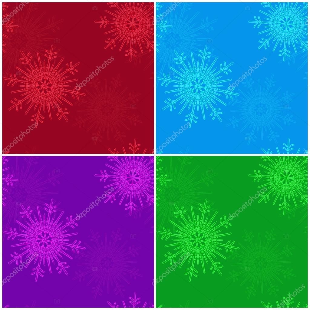 Vector set of seamless Christmas patterns with snowflakes in red, purple, blue and green colors. Vector eps 10.