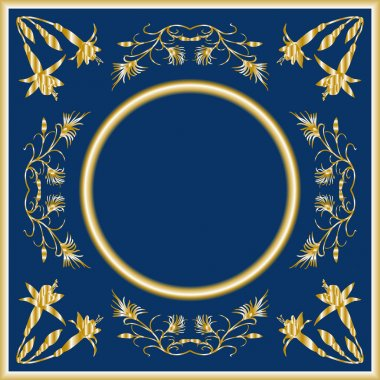 Vector frame with place for your text or photo with gold flowers and curls on a dark blue background.