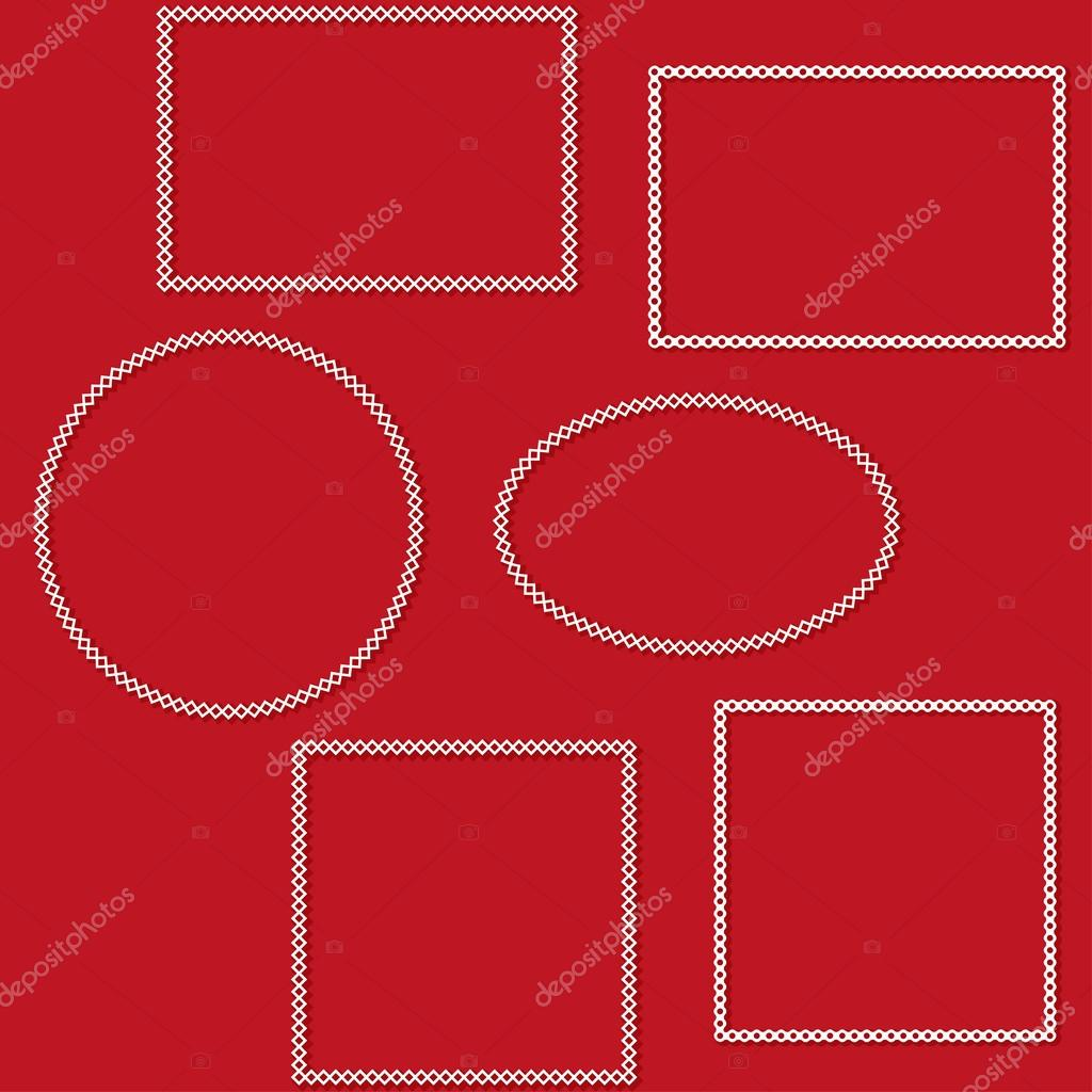 Conjunto de Marcos blancos decorativos aislados sobre un fondo rojo ...
