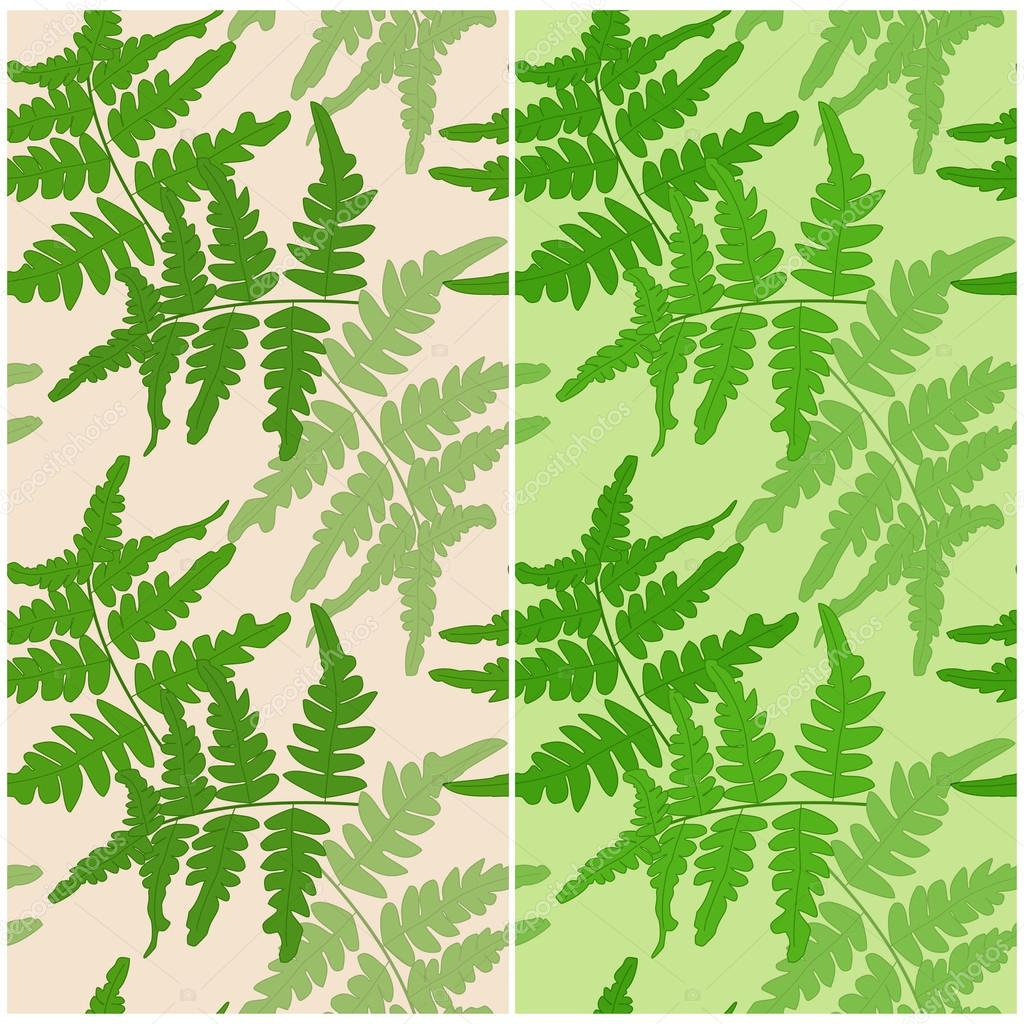 Set of seamless patterns with branches of fern on a yellow and green backgrounds. Vector eps 10.