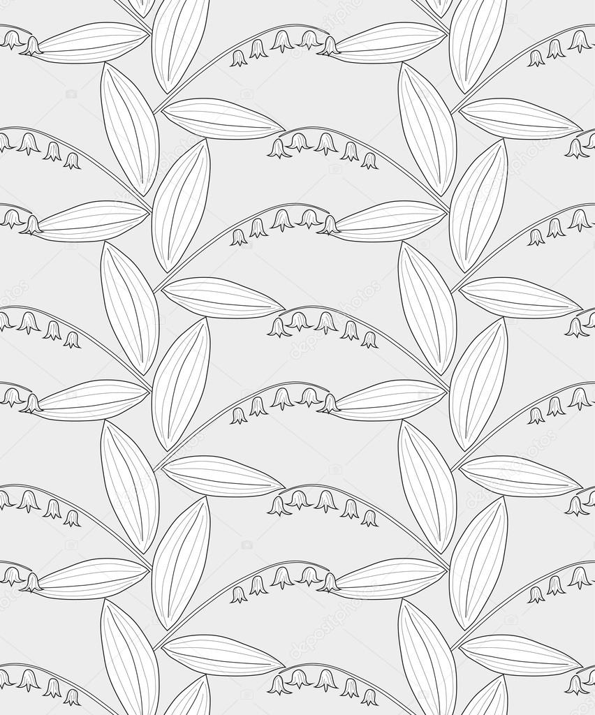 Seamless black and white pencil pattern with lilies of the valley on a gray background. Vector eps 10.