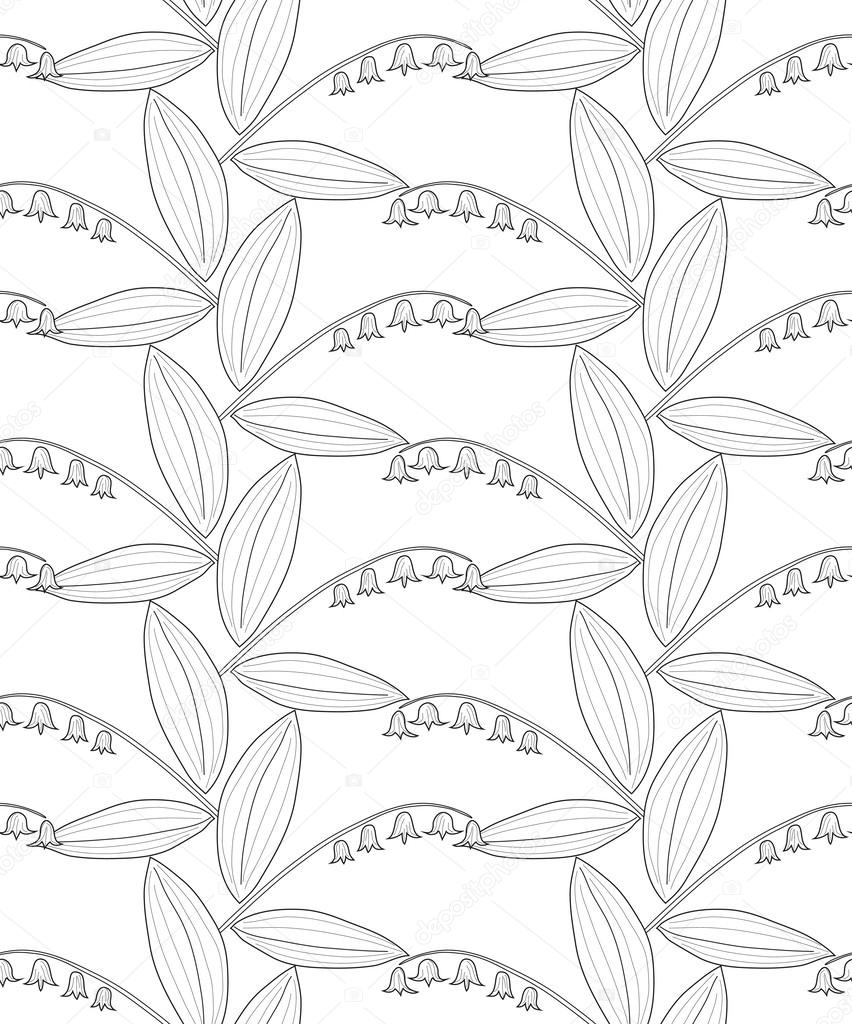 Seamless black and white pencil pattern with lilies of the valley on a white background. Vector eps 10.